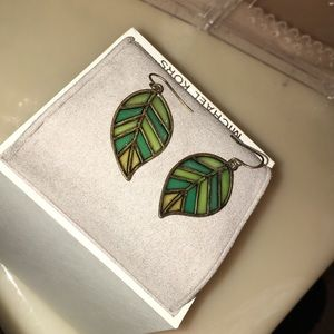 Jewelry - Stained Glass Green Leaf Earrings
